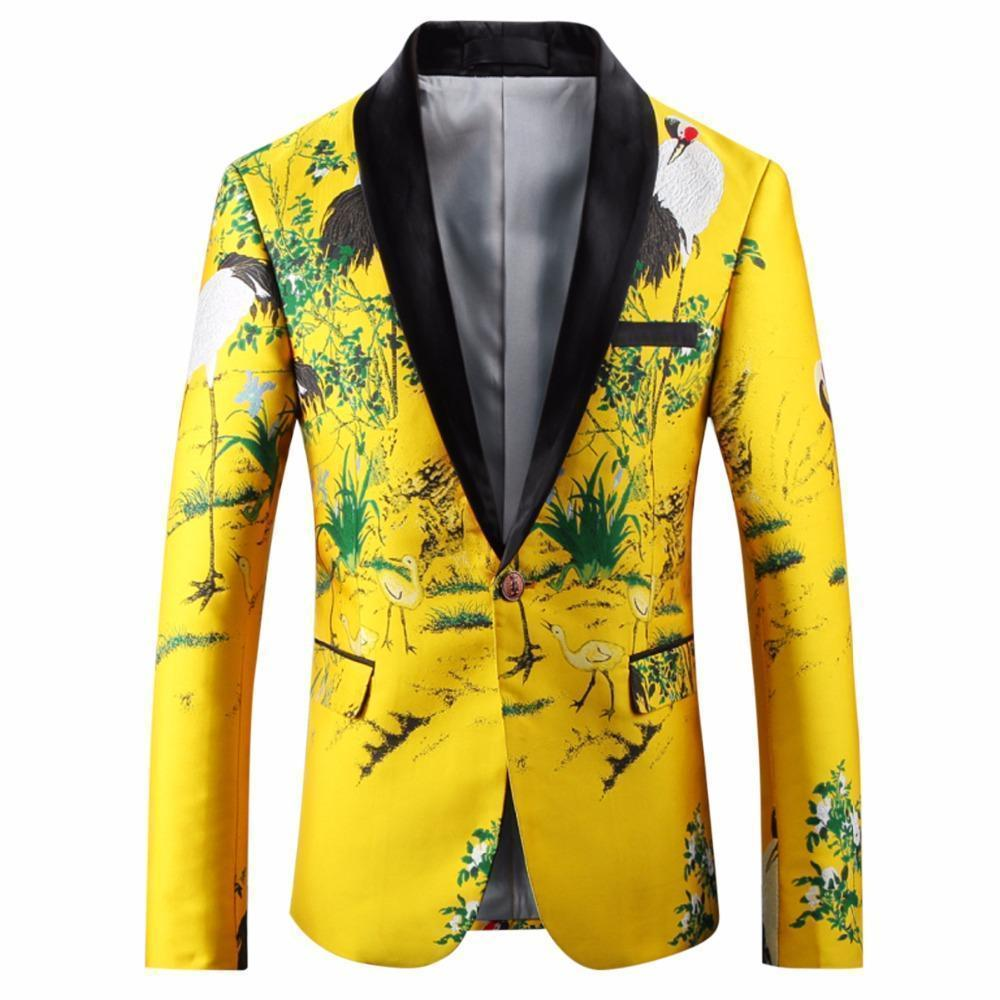 Party Blazer Mens Casual Blazer Yellow-Blazer-LeStyleParfait.Com
