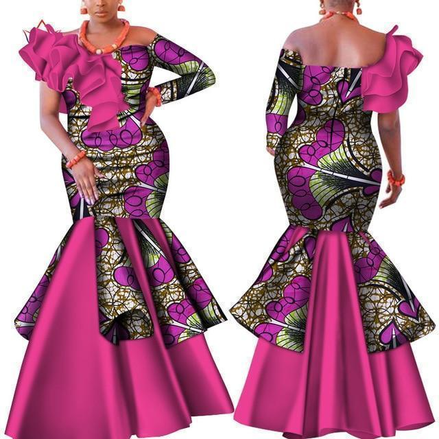 Pink African Dress, Slash Neck Party Dress-Dress-LeStyleParfait.Com