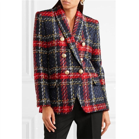 Plaid Women Blazer, Double Breasted Blazer Blazer LeStyleParfait.Com