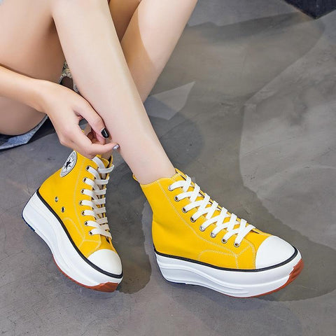 Platform Canvas Sneakers For Women-Shoes-LeStyleParfait.Com