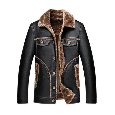 Quebec Fur Winter Leather Jacket For Men