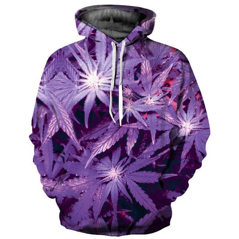 Purple Leaves 3D Hoodie-Hoodies-Sweatshirts-Online-LeStyleParfait.Com
