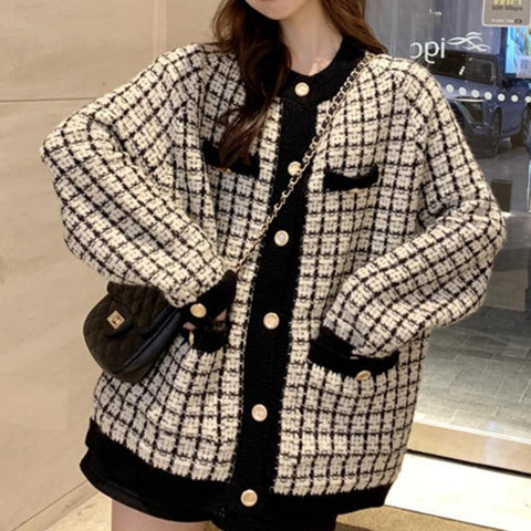 Retro Plaid Oversized Cardigan Sweater for Women-Sweater-LeStyleParfait.Com
