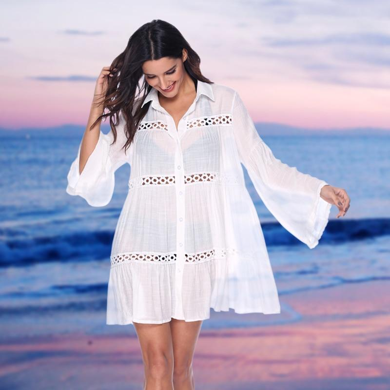 Sexy Lace Bathing Suit Bikini Swimsuit Cover Up White Long Sleeves Summer Dress Beach Swim Beachwear Solid Coverups for Women-Swimwear-LeStyleParfait.Com
