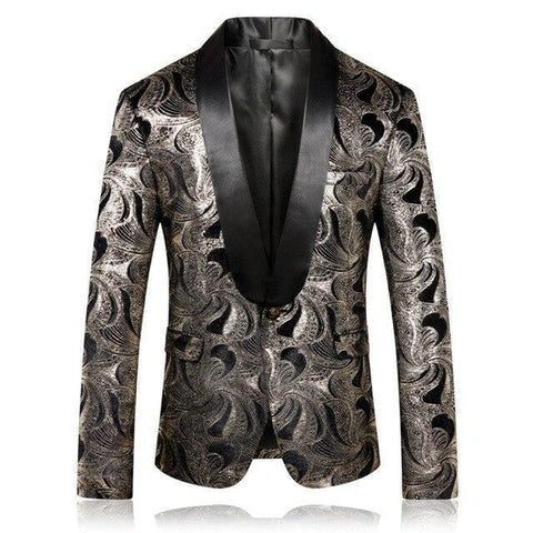Shawl Collar Blazer For Men,n Printed Casual Blazer-Blazer-LeStyleParfait.Com