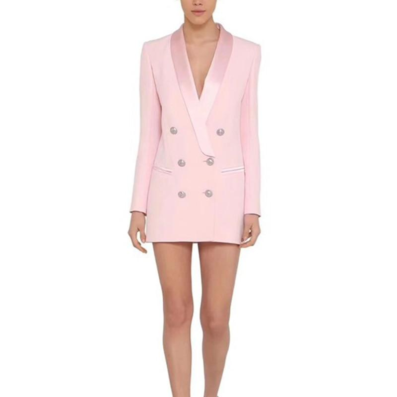 Shawl Satin Collar Tuxedo Blazer Dress - Blazer Dresses-Dress-LeStyleParfait.Com