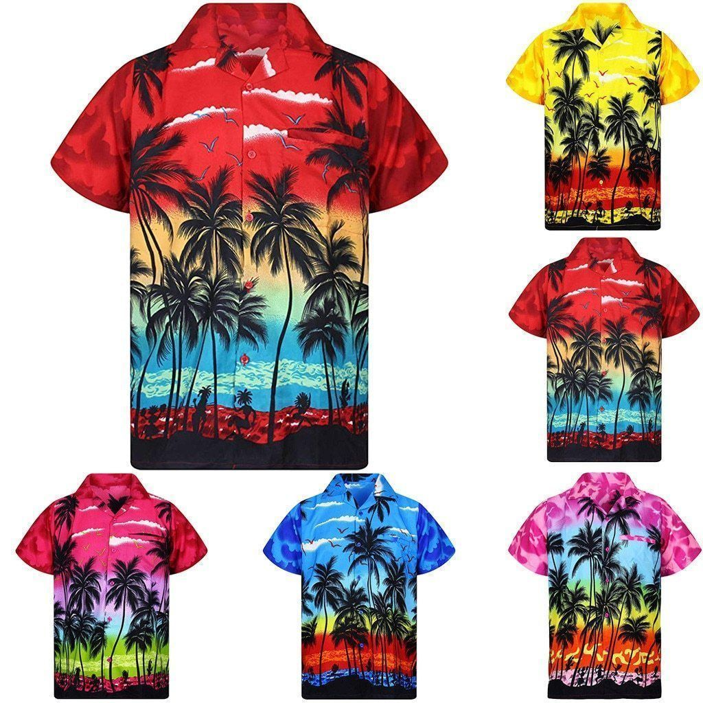 Shirt-Hawaiian Men's Shirt, Palm Tree Print-Shirt-LeStyleParfait.Com