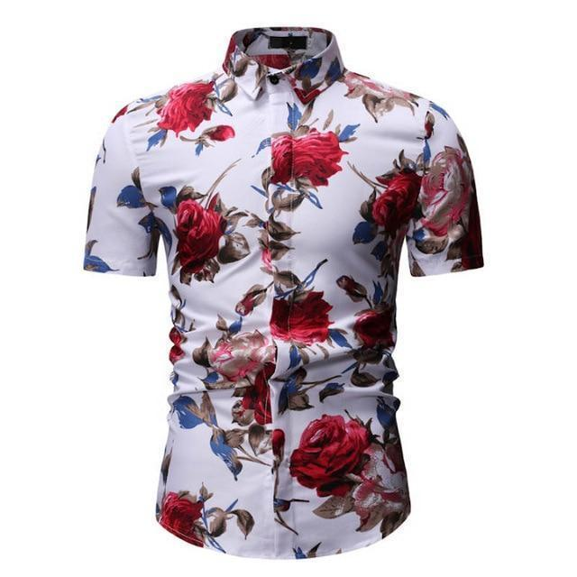 Shirt-Mens Casual Shirt, Hawaiian Shirt, White Floral-Shirt-LeStyleParfait.Com