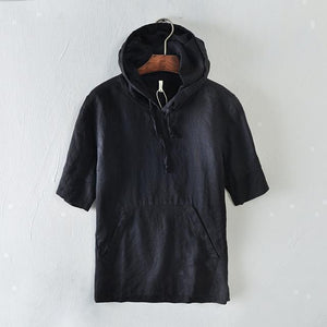 Short Sleeves Hooded Linen T-Shirt-Hoodies-Sweatshirts-Online-Black-M-LeStyleParfait.Com