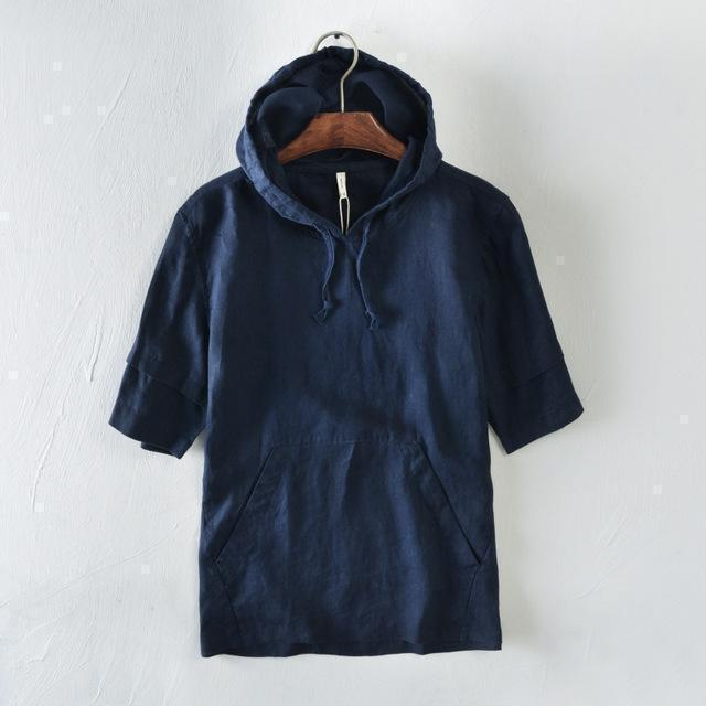 Short Sleeves Hooded Linen T-Shirt-Hoodies-Sweatshirts-Online-Dark Blue-M-LeStyleParfait.Com