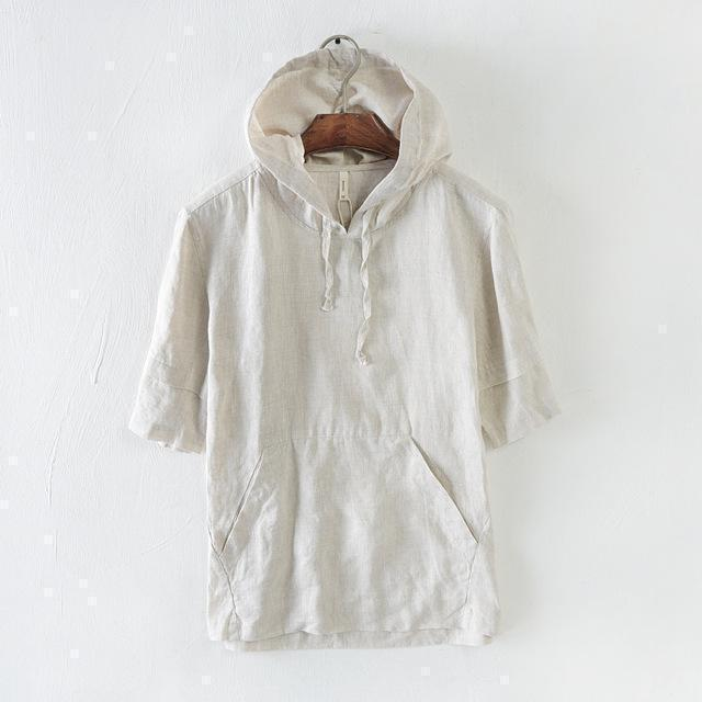 Short Sleeves Hooded Linen T-Shirt-Hoodies-Sweatshirts-Online-Khaki-M-LeStyleParfait.Com