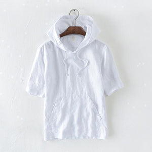 Short Sleeves Hooded Linen T-Shirt-Hoodies-Sweatshirts-Online-White-M-LeStyleParfait.Com