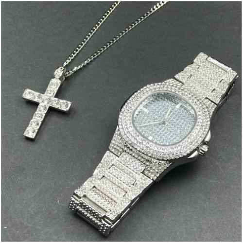 Silver Luxury Jewelry Set, Watch & Cross Pendant, Men Jewelry-Jewelry Set-LeStyleParfait.Com