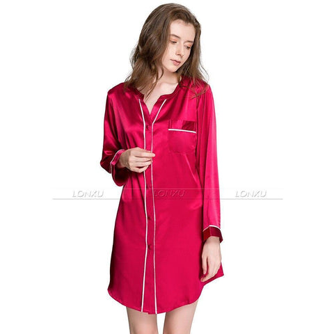 Sleepwear-Women Silk Night Dress Sleepshirt-Women Sleepwear-LeStyleParfait.Com