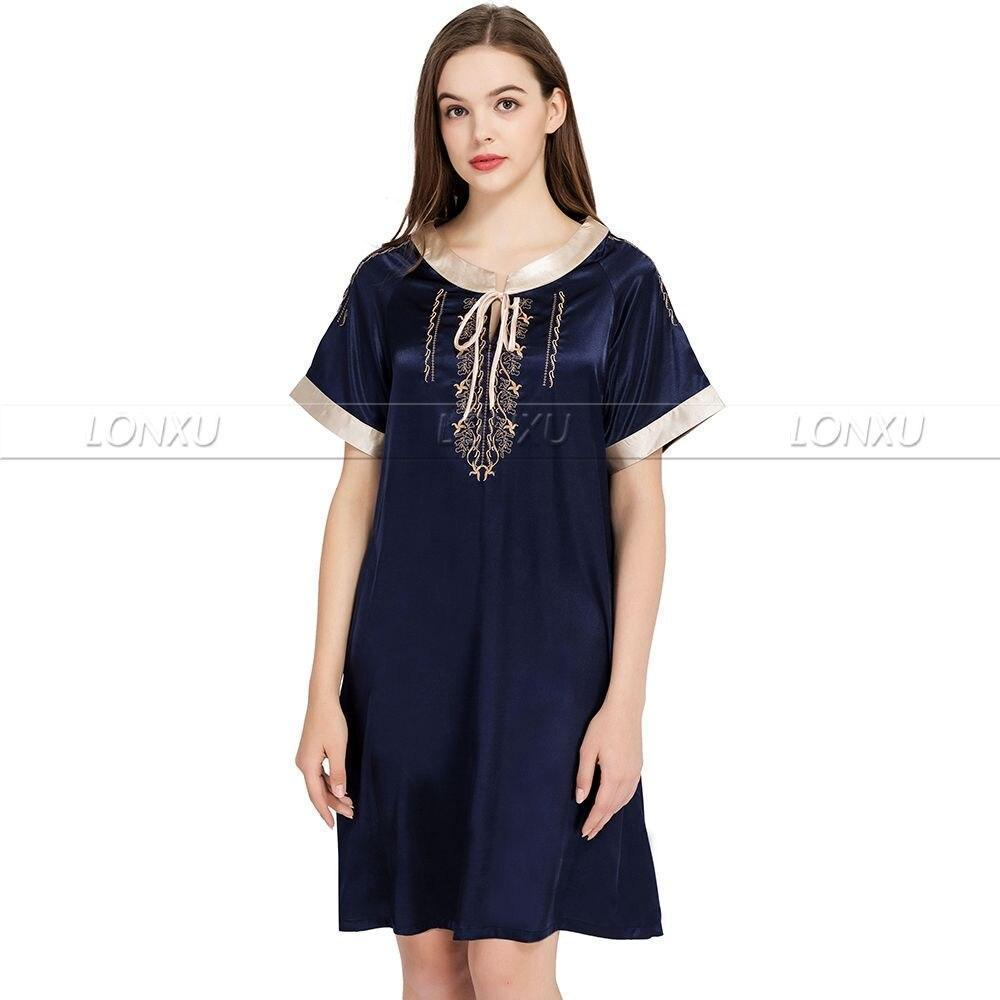 Sleepwear-Women's Nightdress, Silk-Women Sleepwear-LeStyleParfait.Com
