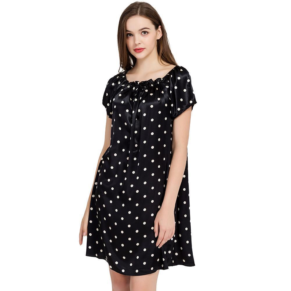 Sleepwear-Women's Polka Dots Silk Night Dress-Women Sleepwear-LeStyleParfait.Com