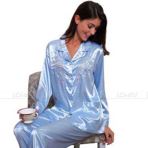 Sleepwear-Women's Silk Pyjama, Embroidered-Women Sleepwear-LeStyleParfait.Com
