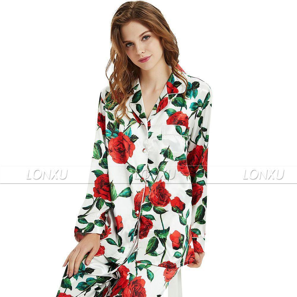Sleepwear-Women's Silk Pyjama Set, Floral-Women Sleepwear-LeStyleParfait.Com