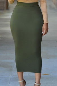 Solid High-waisted Bodycon Maxi Skirt For Women Long Pencil Skirts-Skirt-LeStyleParfait.Com