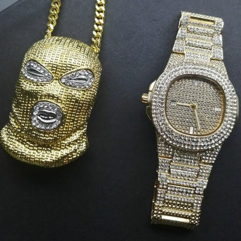 Spiderman Luxury Jewelry Set, Watch & Necklace, Gold Diamond Men Jewelry-Jewelry Set-LeStyleParfait.Com