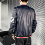 Striped Leather Jackets For Men - Coats & Jackets Men's-Jacket-LeStyleParfait.Com