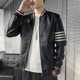 Striped Leather Jackets For Men - Coats & Jackets Men's-Jacket-Black- Winter-L-LeStyleParfait.Com