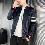 Striped Leather Jackets For Men - Coats & Jackets Men's-Jacket-Blue-XL-LeStyleParfait.Com