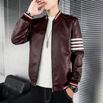 Striped Leather Jackets For Men - Coats & Jackets Men's-Jacket-Red - Winter-XL-LeStyleParfait.Com