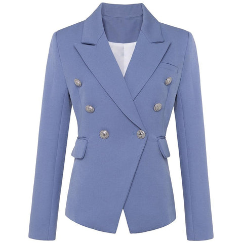 Stylish Double Breasted Blazer For Women Blazer LeStyleParfait.Com S Sky Blue