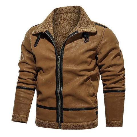 Swedish Men's Suede Leather Jacket- Autumn, Clothing, Fall, Jackets, Leather, Men's, Men's Jackets, Plus Size, Suede, Winter-LeStyleParfait.Com