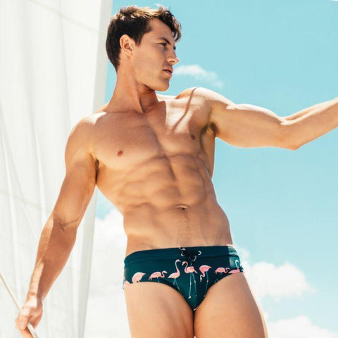 Swimwear - Men's Swim Briefs, Flamingo Print Trunks-Swimwear-LeStyleParfait.Com