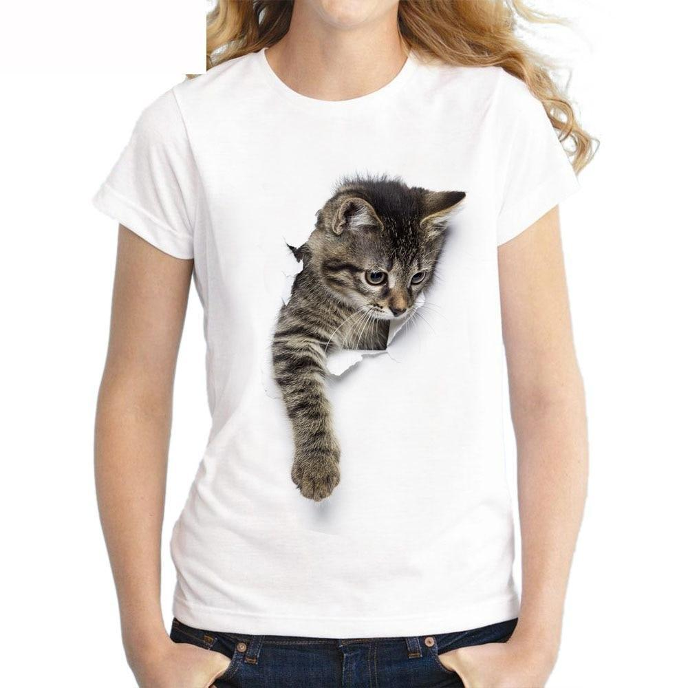 T-Shirt-Cat Print Casual T-Shirt-T-Shirts-Women-LeStyleParfait.Com