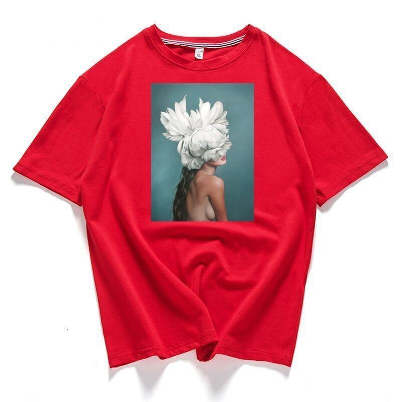 T-Shirt-Women Cotton T-Shirt Feather Flower-T-Shirts-Women-LeStyleParfait.Com