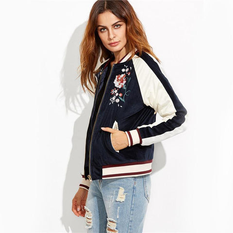 Take It Easy Floral Bomber Jacket Jacket LeStyleParfait.Com Blue S
