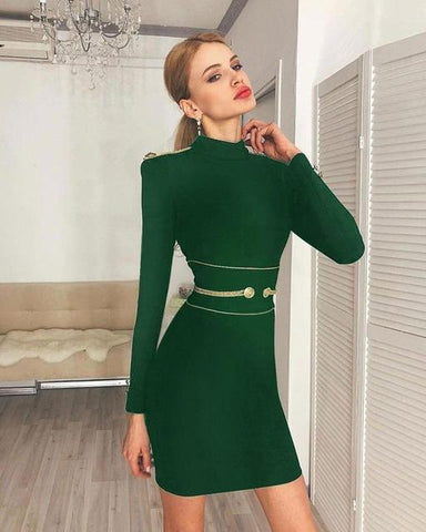 Turtleneck Long-Sleeve Bodycon Mini Dress Dress LeStyleParfait.Com Green XS