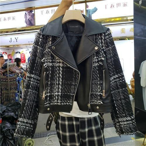 Tweed Jacket, Women PU Leather Jacket, Plaid Patches-Women-Jacket-LeStyleParfait.Com