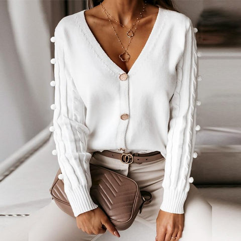 V-Neck Cardigan Sweater Top For Women-Sweater-LeStyleParfait.Com