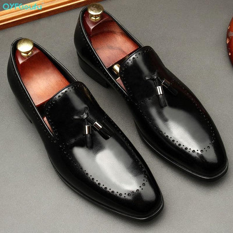Vincenzo Patent Leather Tassel Loafer Shoes For Men-Shoes-Online-LeStyleParfait.Com