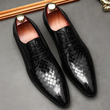 Weaved Style Oxfords Leather Shoes For Men-Online-LeStyleParfait.Com