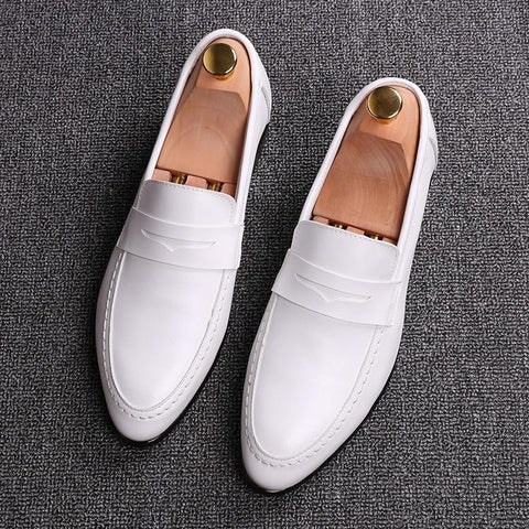 Wedding Men's Loafer Shoes - Men's Shoes Casual-Shoes-White-6-LeStyleParfait.Com