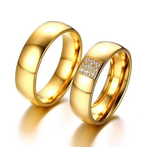 Wedding Rings Gold Romantic Couple Engagement Rings-Rings-LeStyleParfait.Com