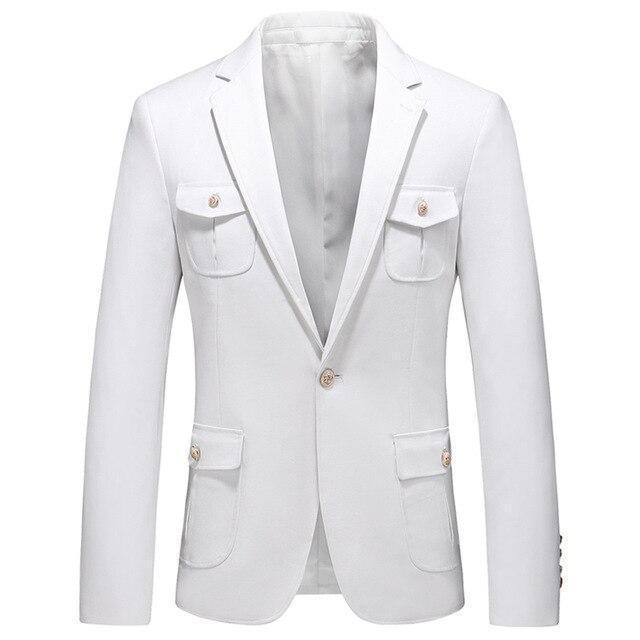 White Men's Blazer Multi-pocket-Blazer-LeStyleParfait.Com