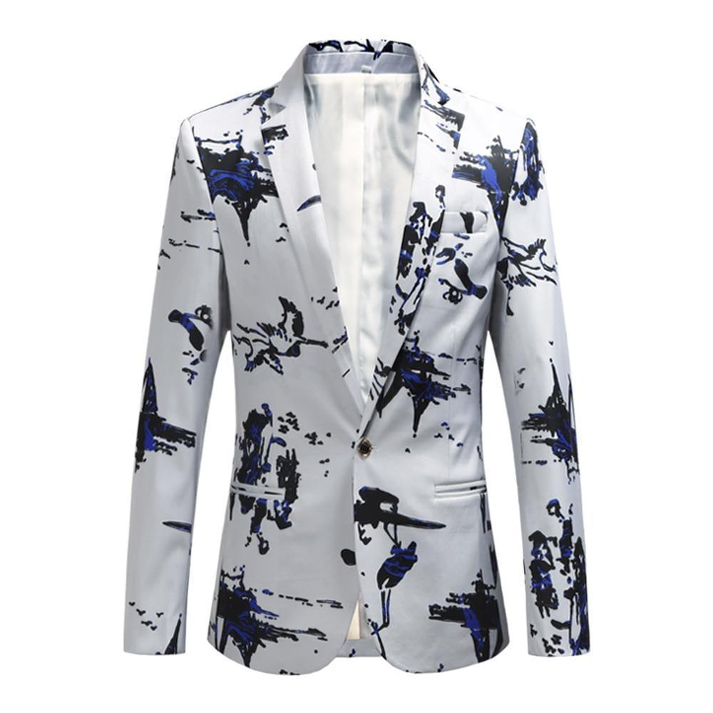 White Men's Blazer With Blue Prints-Blazer-LeStyleParfait.Com