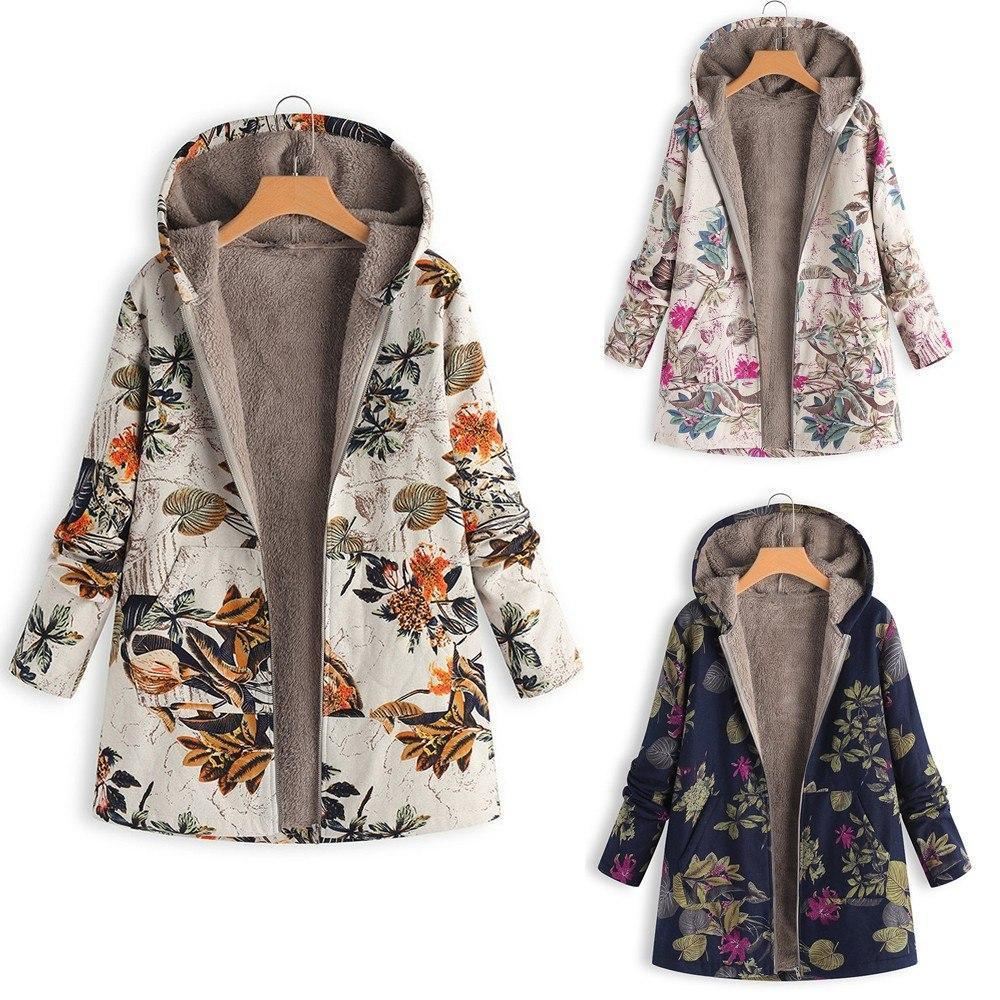 Winter Coat, Floral, Loose Plus Size Coat-Women-Coat-LeStyleParfait.Com