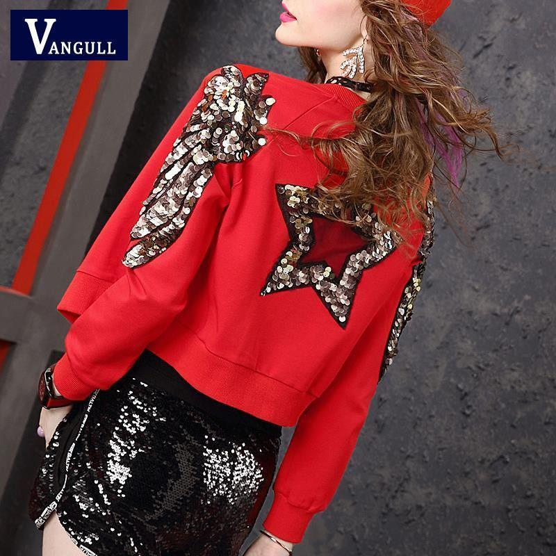 Women Jacket, Casual Sequined Glitter Star Jacket, Red-Women-Jacket-LeStyleParfait.Com