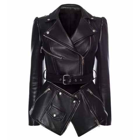 Women Jacket Faux Leather Jacket Lower Edge Detachable-Women-Jacket-LeStyleParfait.Com