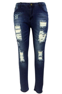 Women Jeans, Fashion Skinny Sandblast Wash Denim, Destroyed Pencil Pants-Women Pants-LeStyleParfait.Com