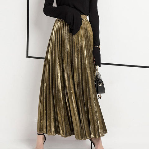 Women Maxi Skirt Vintage Pleated Skirt Skirt LeStyleParfait.Com Online Shop Gold L