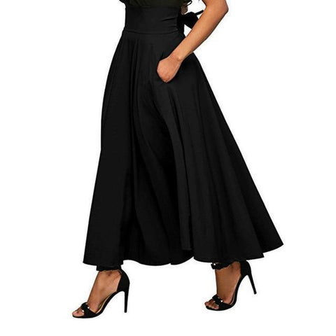 Women Maxi Skirts With Pockets Skirt LeStyleParfait.Com Online Shop Black S
