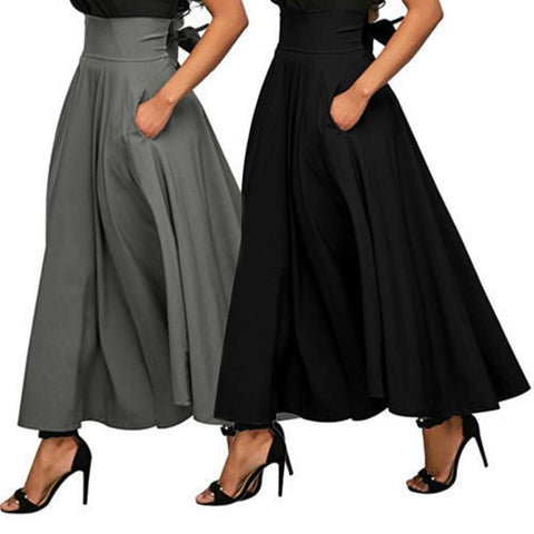 Women Maxi Skirts With Pockets-Skirt-LeStyleParfait.Com